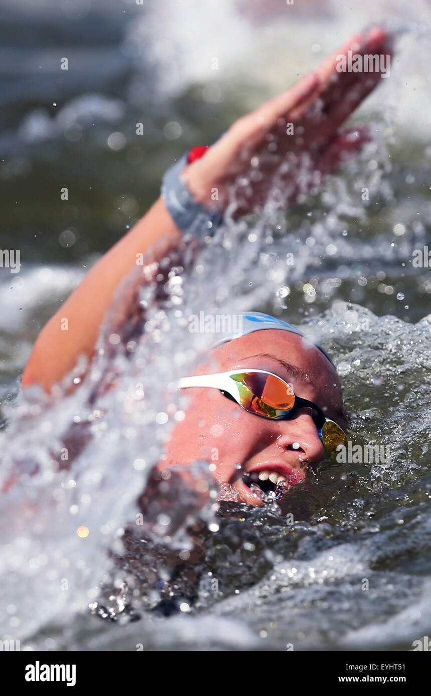Kazan, Russia. 30th July, 2015. Czech Republic's Alena Benesova competes in the team 5km open water event at - Stock Image