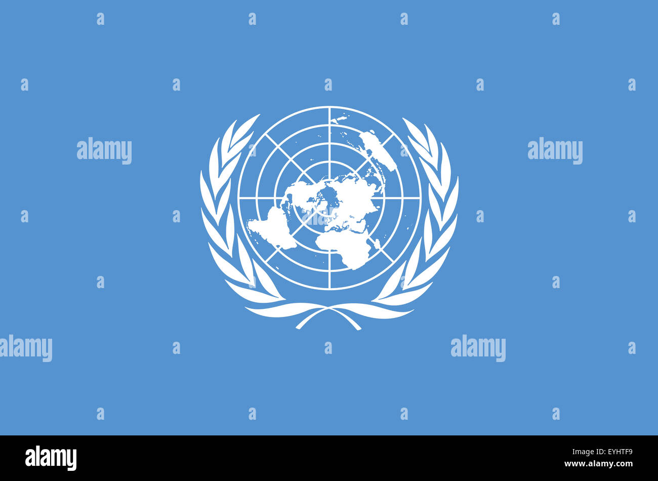 Fahne: Vereinte Nationen/ flag: United Nations. - Stock Image