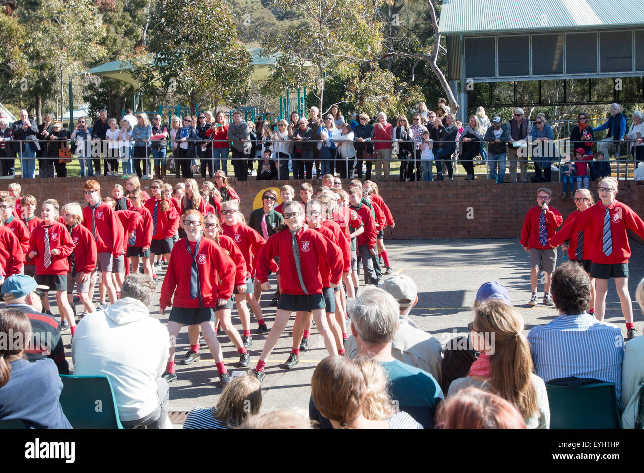 Parents watching their children perform at a school open day festival,Sydney,Australia - Stock Image