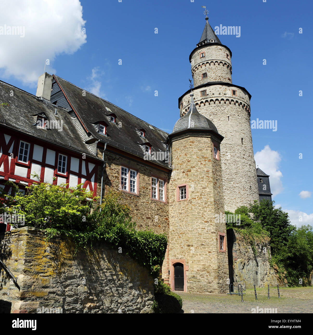 "The Hexenturm (""Witches Tower) at the castle in Idstein, Germany. The tower dates from 1170 and is also known as Stock Photo"