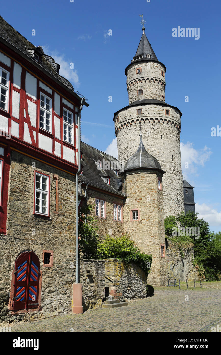 """The Hexenturm (""""Witches Tower) at the castle in Idstein, Germany. The tower dates from 1170 and is also known as Stock Photo"""
