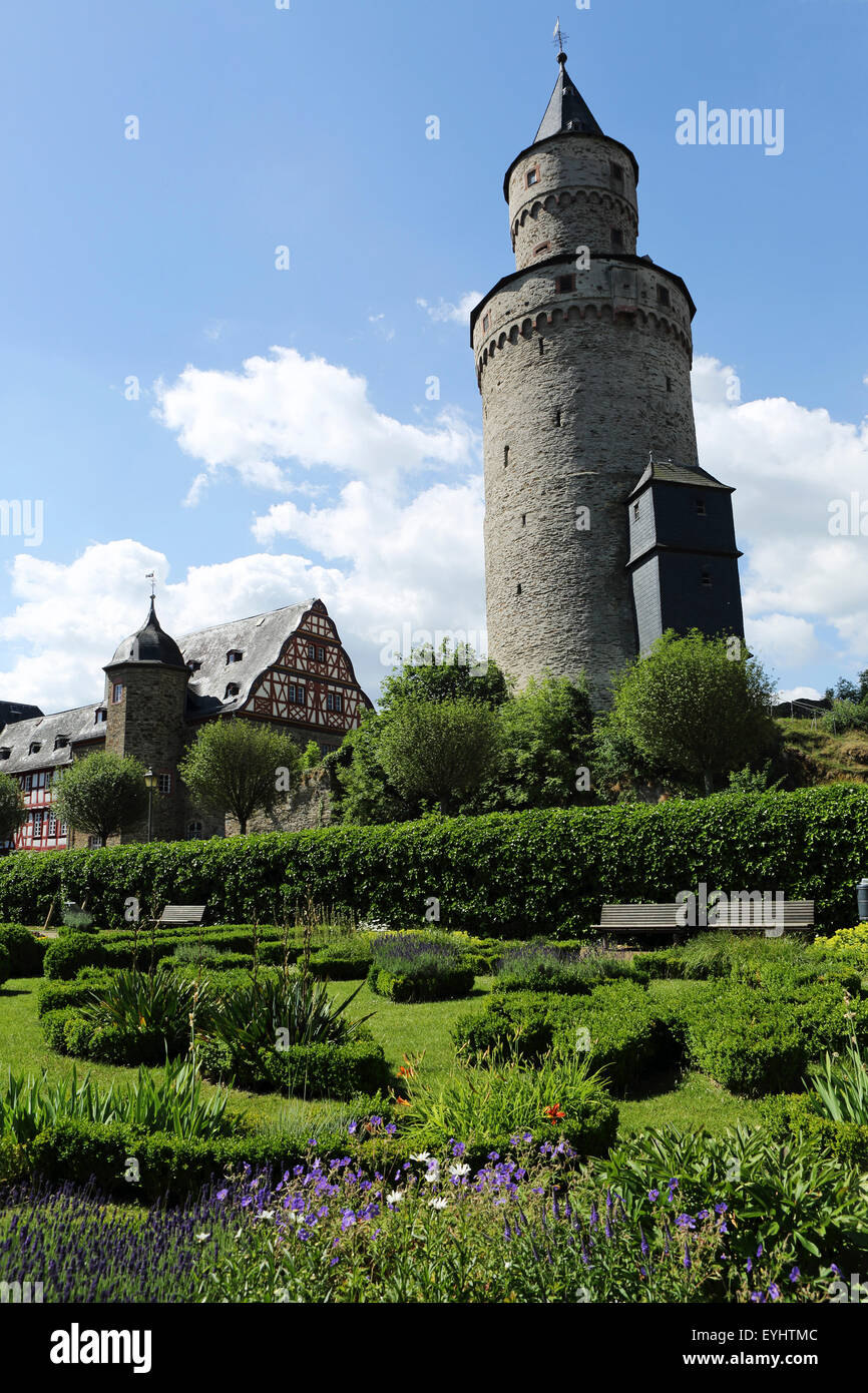 """The Hexenturm (""""Witches Tower) and Palace Garden in Idstein, Germany. Stock Photo"""