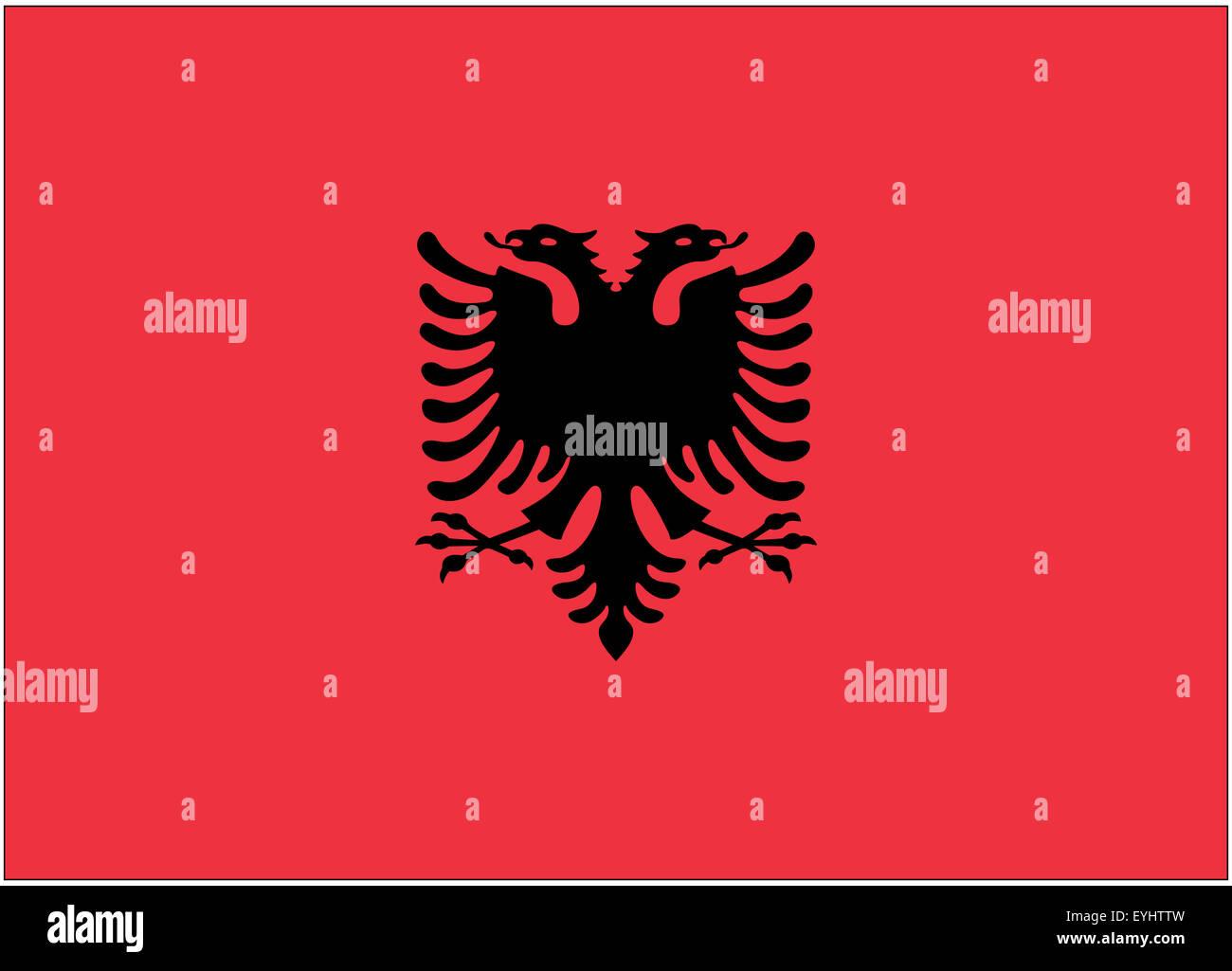 Fahne: Albanien/ flag: Albania. - Stock Image