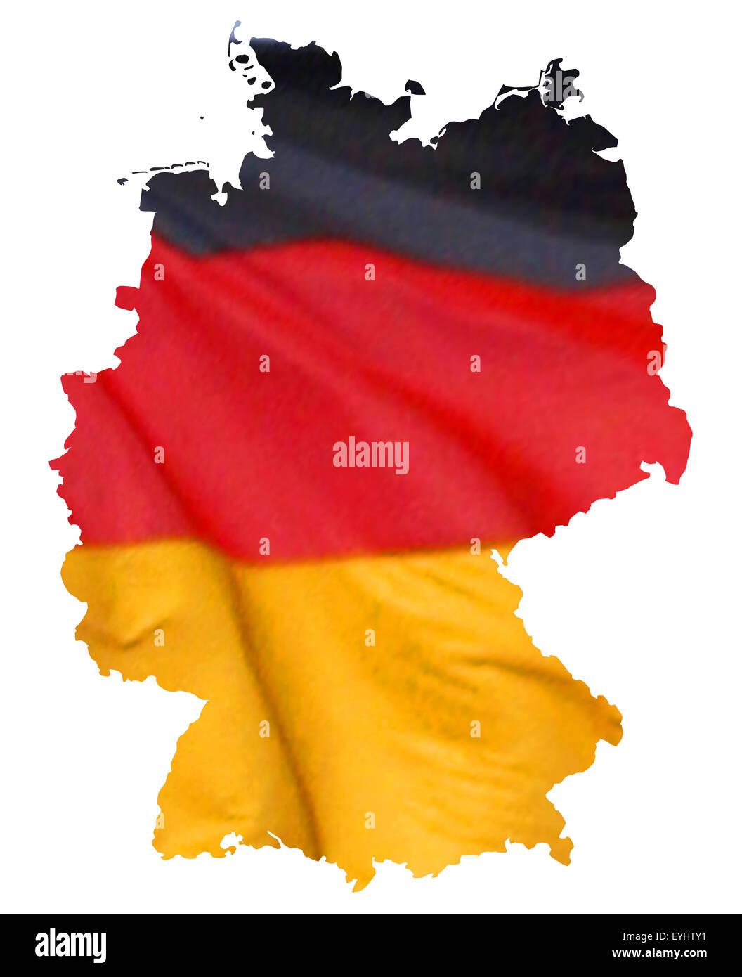 Symbolbild: Bundesrepublik Deutschland: Laenderumriss mit Flagge/ symbolic image: Federal Republic of Germany: outline - Stock Image