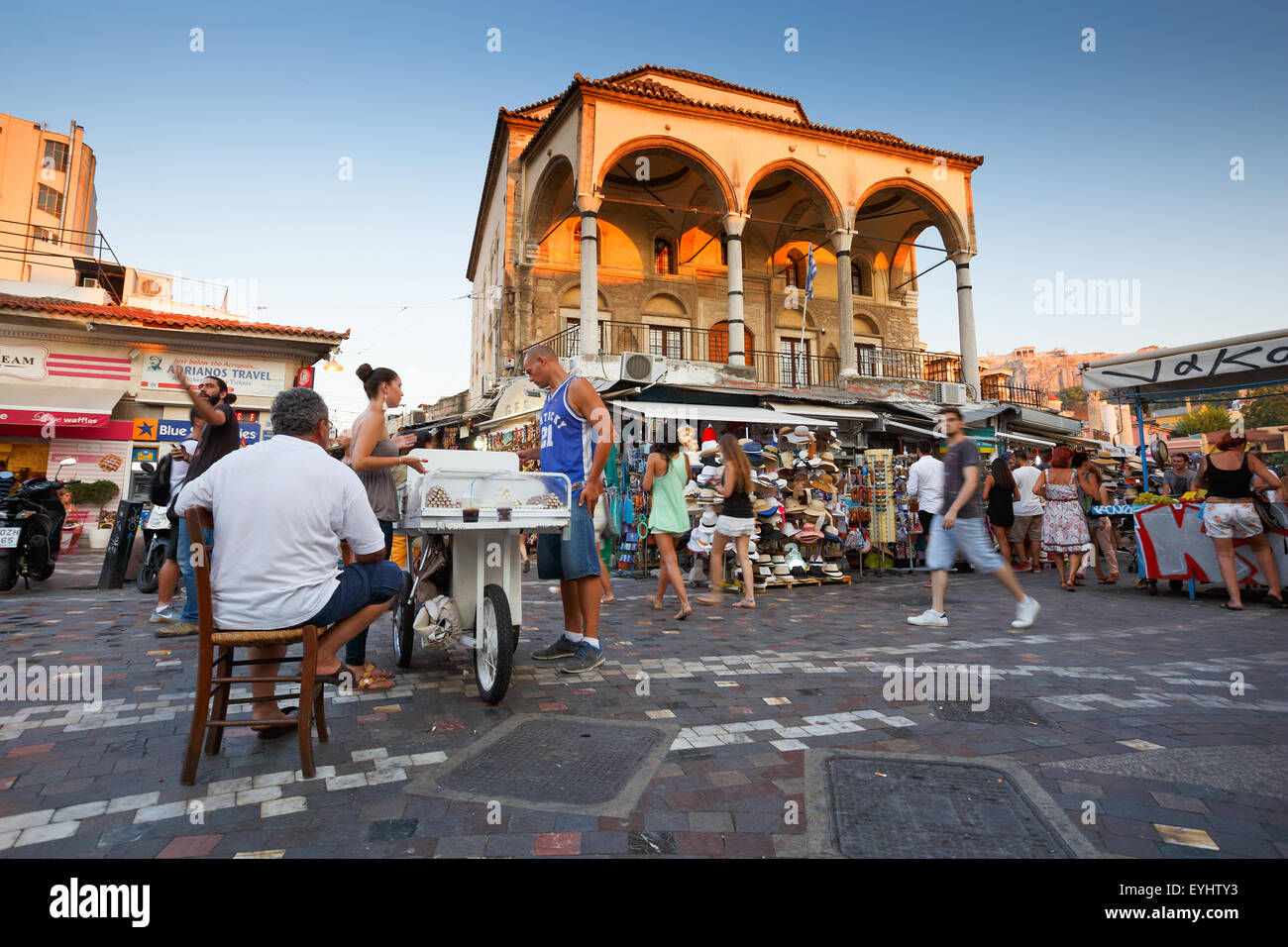 Sweets seller at the mosque in Monastiraki square in Athens, Greece - Stock Image