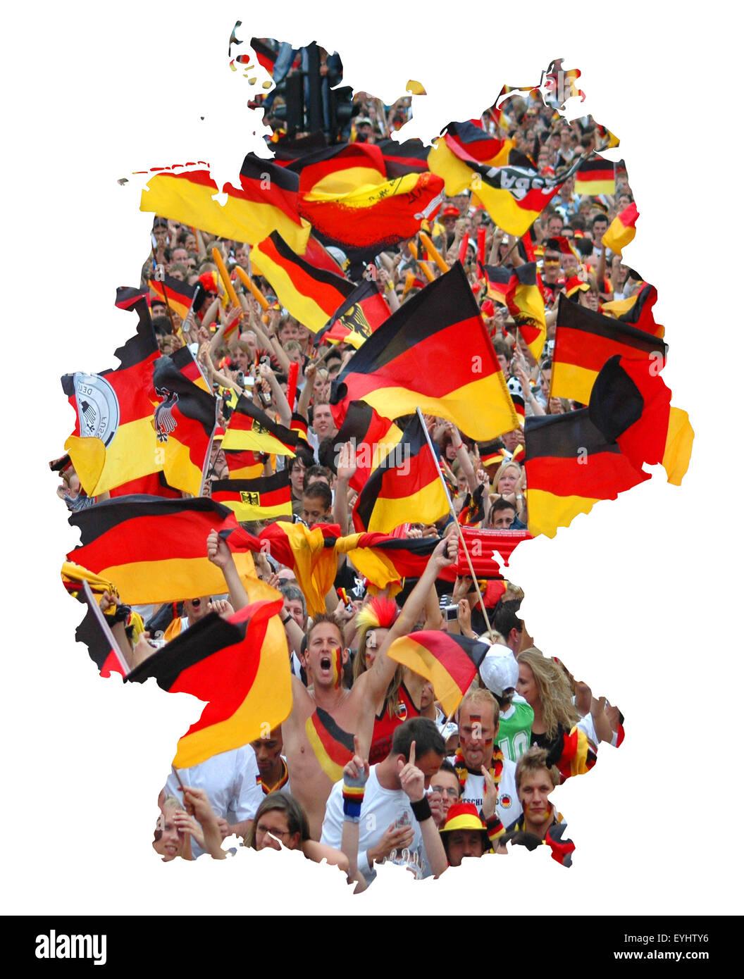 Symbolbild: Bundesrepublik Deutschland: Laenderumriss mit Flagge und jubelnden Fussballfans/ symbolic image: Federal - Stock Image