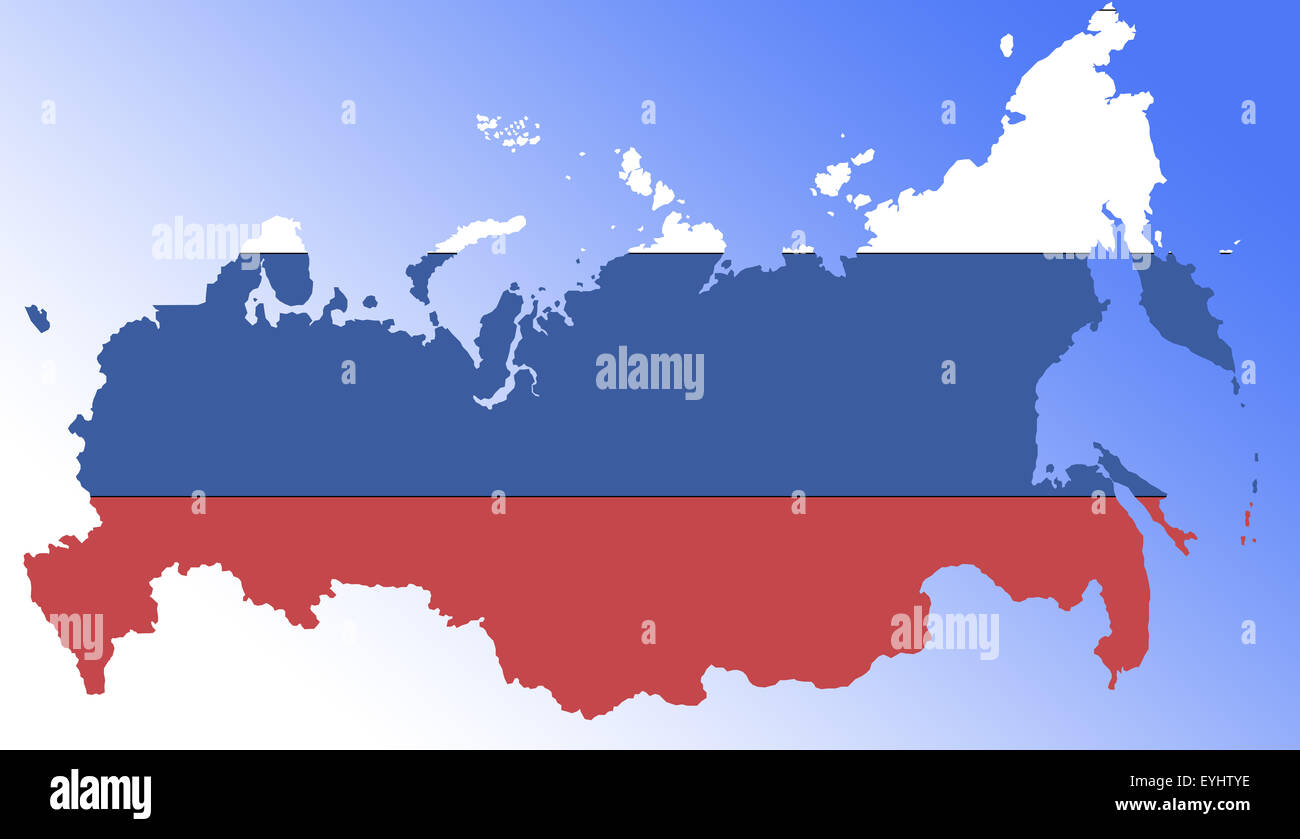 Symbolbild: Russland: Laenderumriss mit Flagge/ symbolic image: Russia: outline and flag. - Stock Image