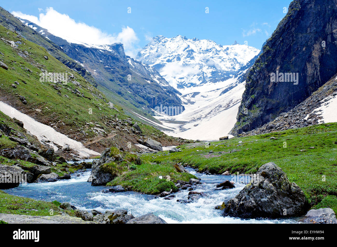 Looking towards Hampta Pass, Himachal Pradesh, India - Stock Image