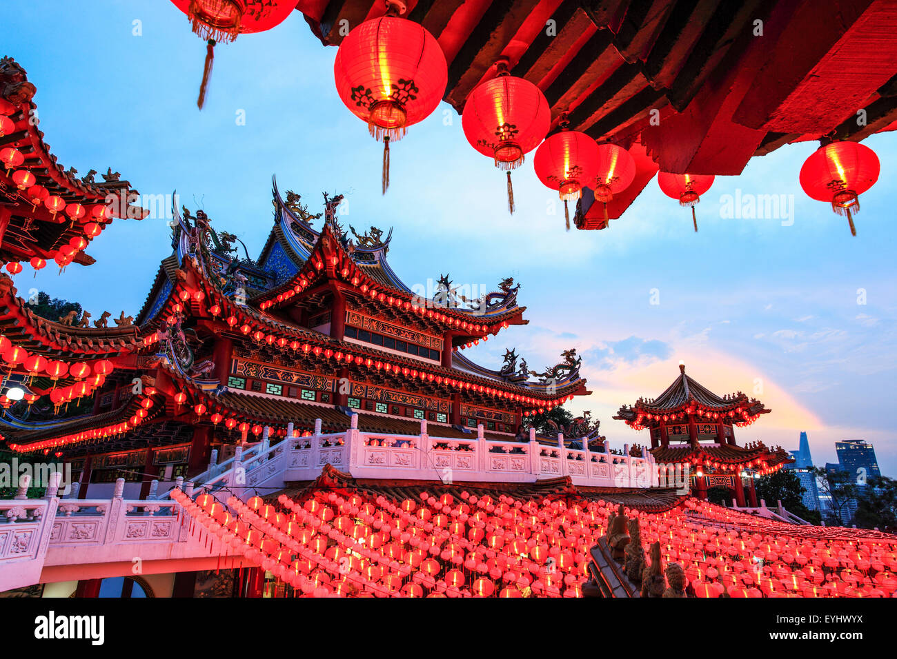 The Thean Hou Temple lanterns all lighted up during Chinese New Year. - Stock Image