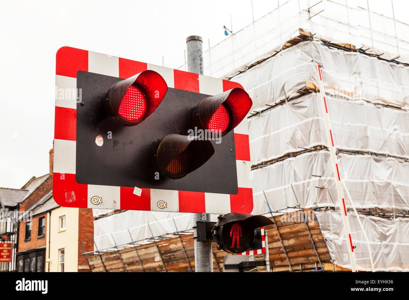 Level Crossing Flashing Red Lights Stop Danger Do Not Cross Train Coming  Lincoln City Lincolnshire UK England
