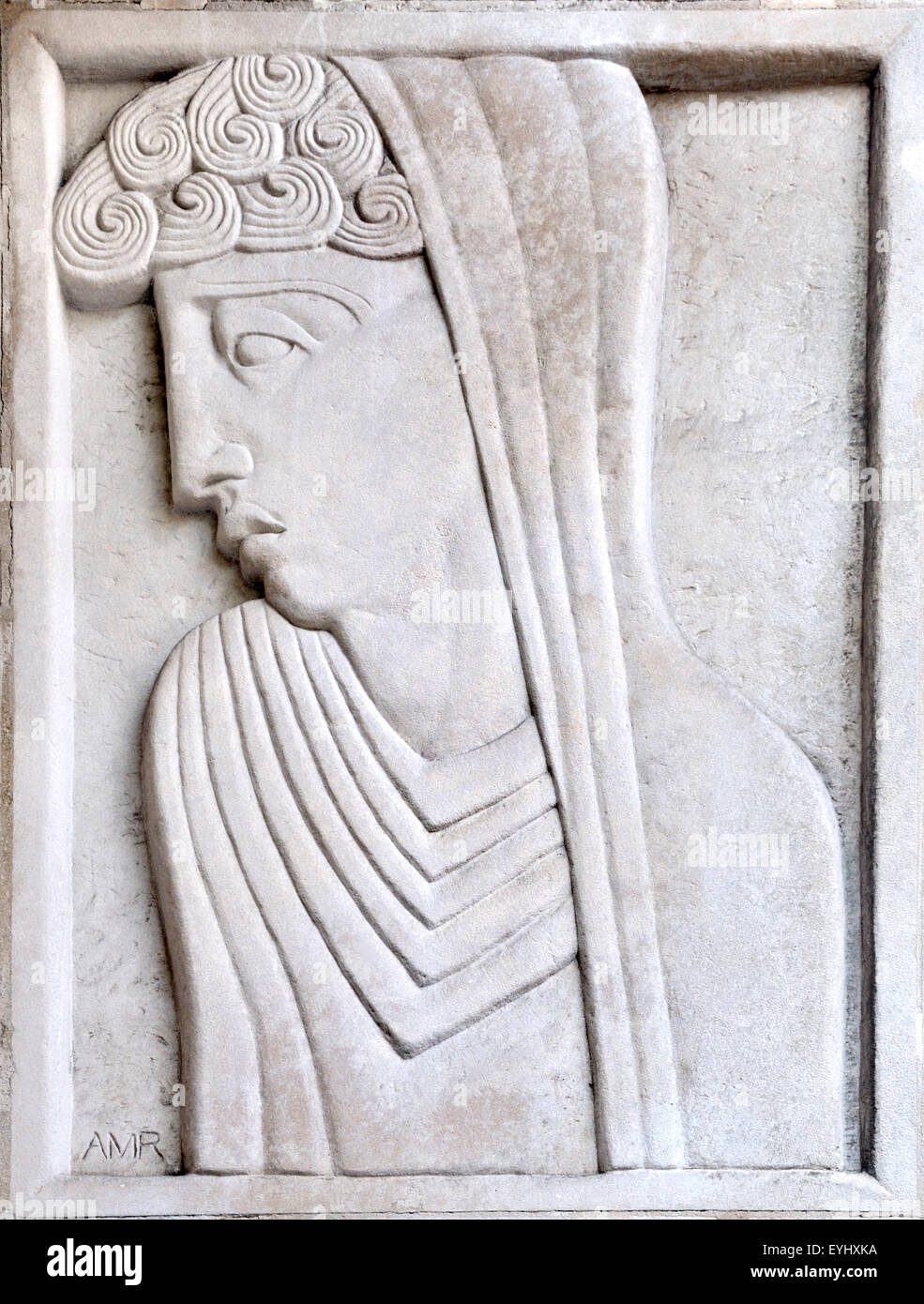 London, England, UK. St Martin's School of Art, Charing Cross Rd.  Carved stone panel by Adolfine Ryland: Renaissance - Stock Image
