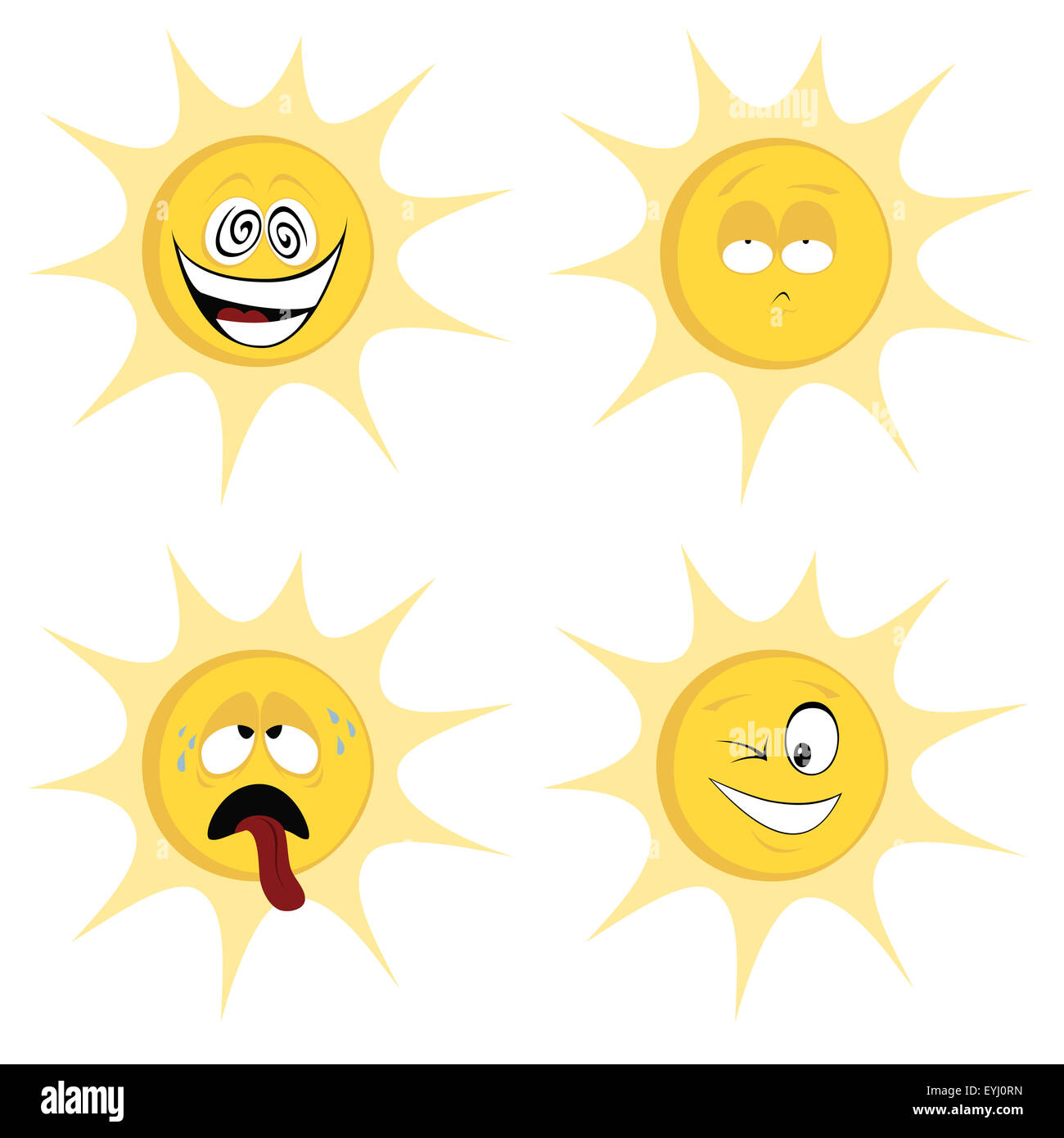 Collection of four colored, cute sun character icons (emoticons) with different facial expression - Stock Image