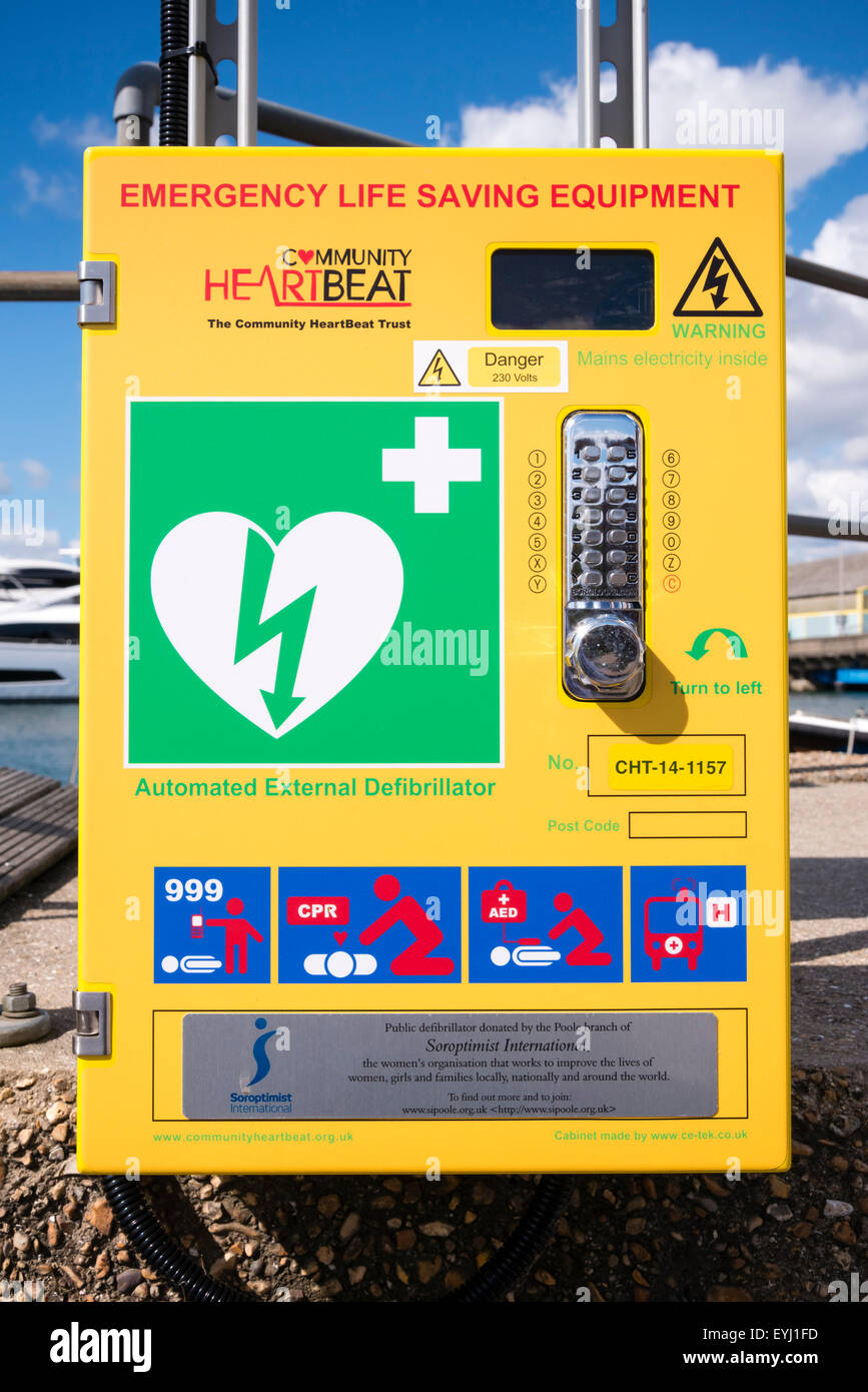 Defibrillator emergency life saving equipment on the street, UK. - Stock Image
