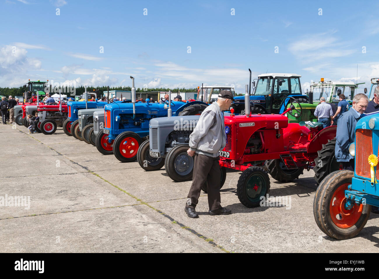 Vintage tractors enclosure at the 2015 Haddington Agricultural Show - Stock Image
