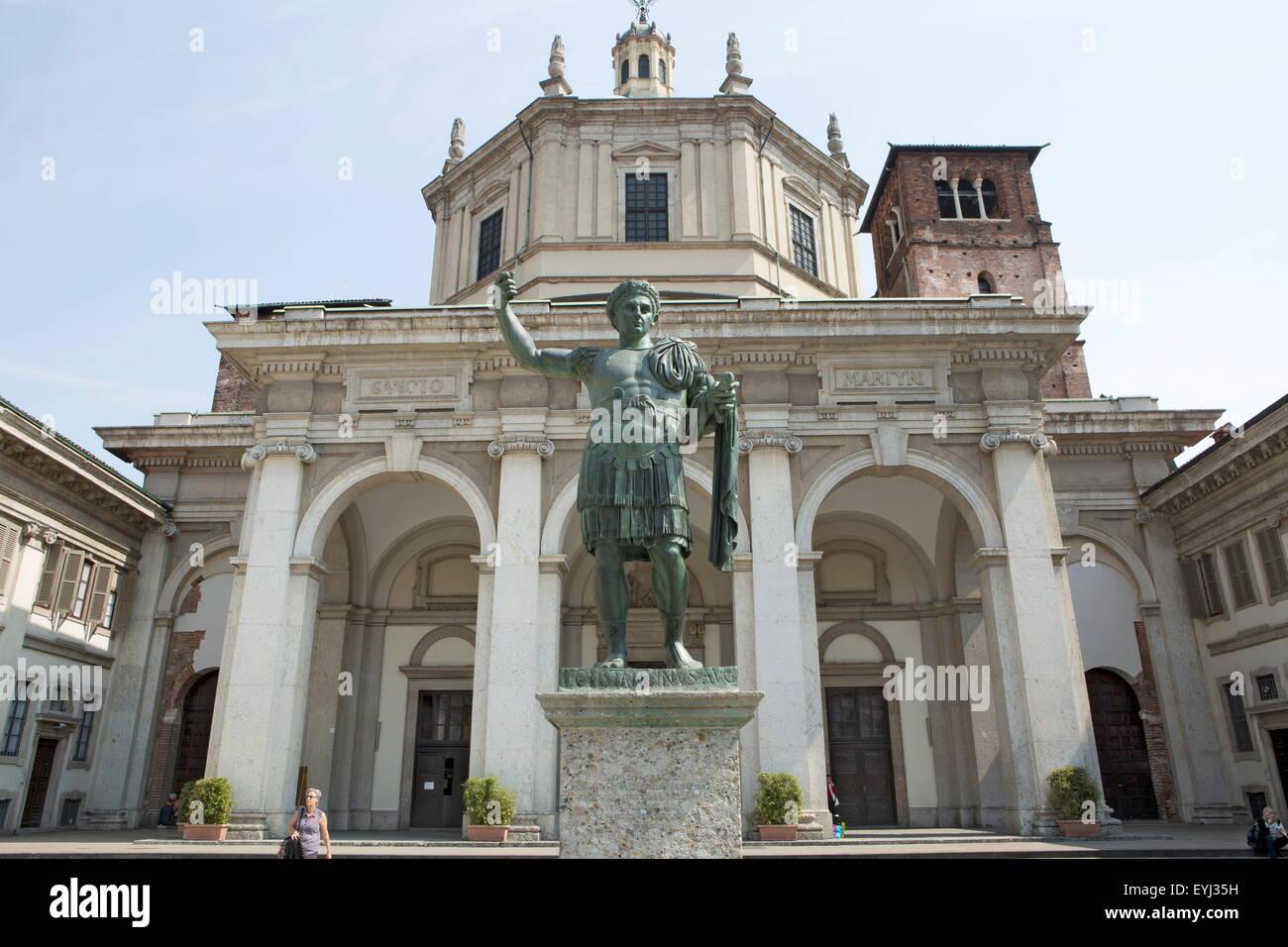 Basilica of San Lorenzo Maggiore, Milan, Milano, Lombardy region, Italy - Stock Image