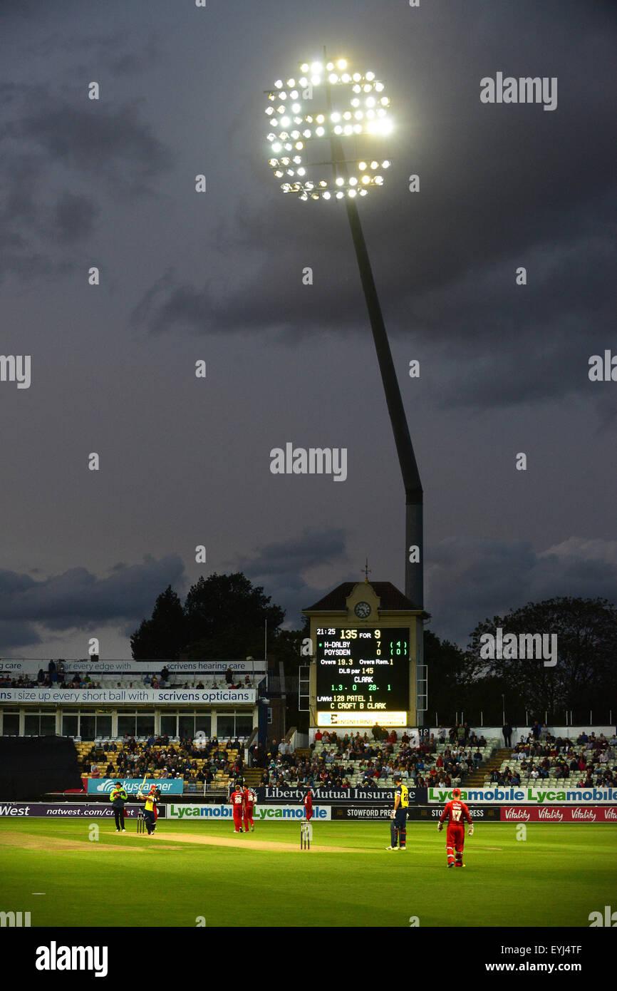 Floodlit cricket match at Edgbaston Uk sport floodlights for Warwickshire v Lancashire in T20 - Stock Image