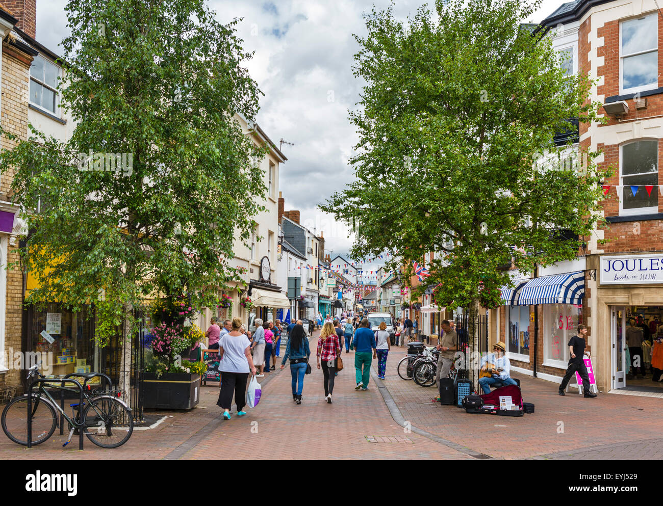 View down Old Fore Street in the town centre, Sidmouth, Devon, England, UK - Stock Image