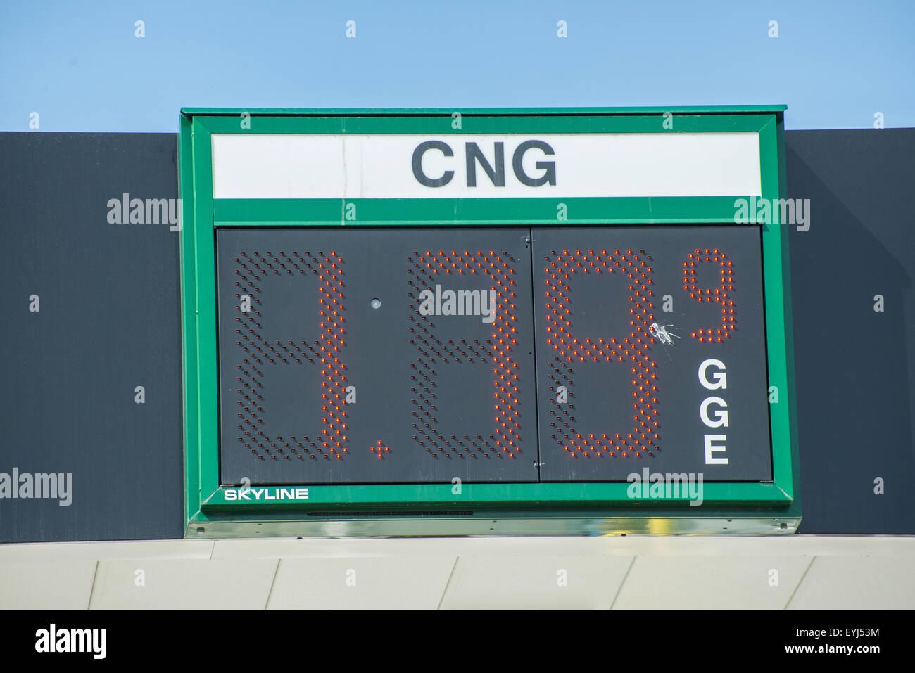 Compressed Natural Gas Filling Station Price Sign - Salt Lake City - utah - Stock Image