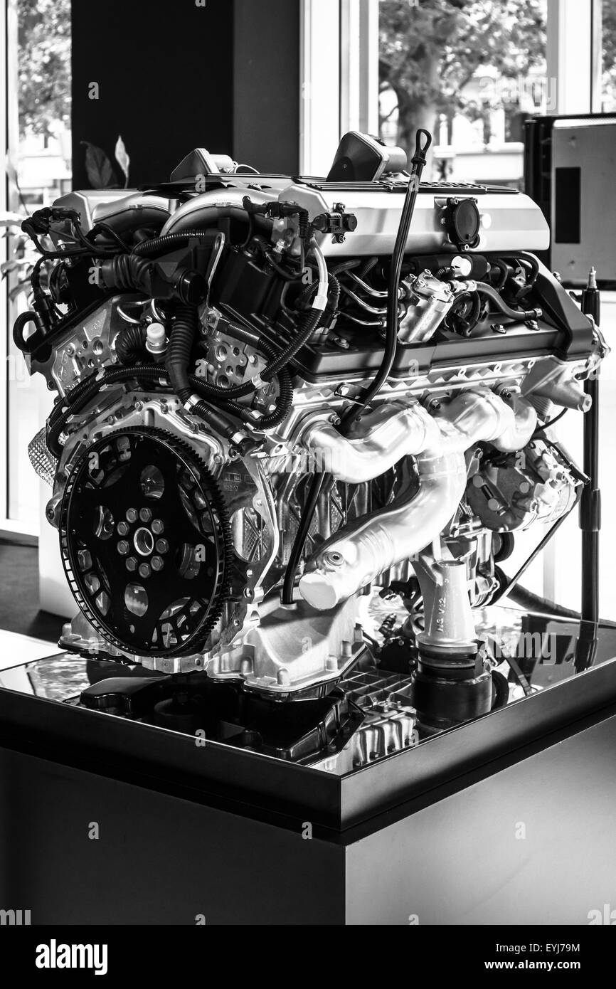 V12 Engine Black And White Stock Photos Images Alamy Bmw Diagram Berlin June 14 2015 Dohc N73 Of The