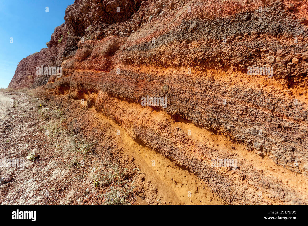 The path from Imerovigli to Oia, Santorini, Greek Islands, Cyclades, Greece, EU, Europa, volcanically profile, red - Stock Image