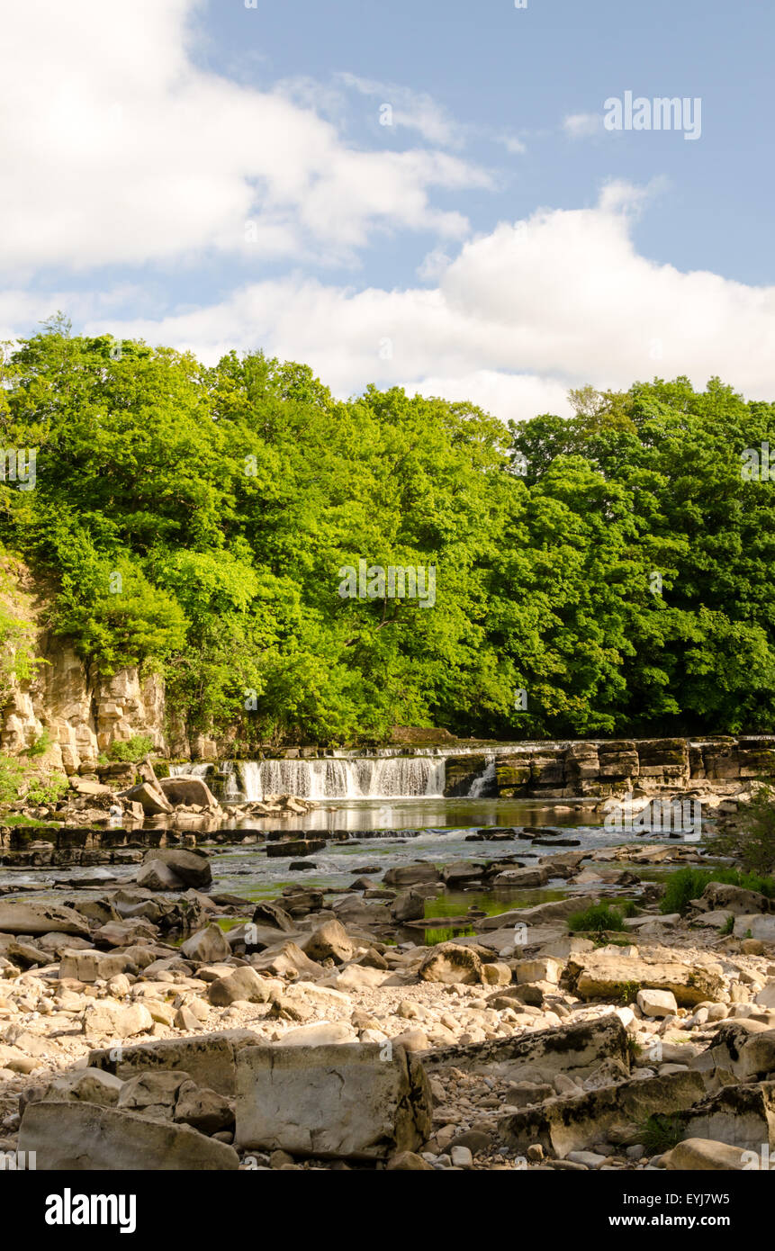 River Swale Waterfall and Riverside at Richmond, North Yorkshire Stock Photo