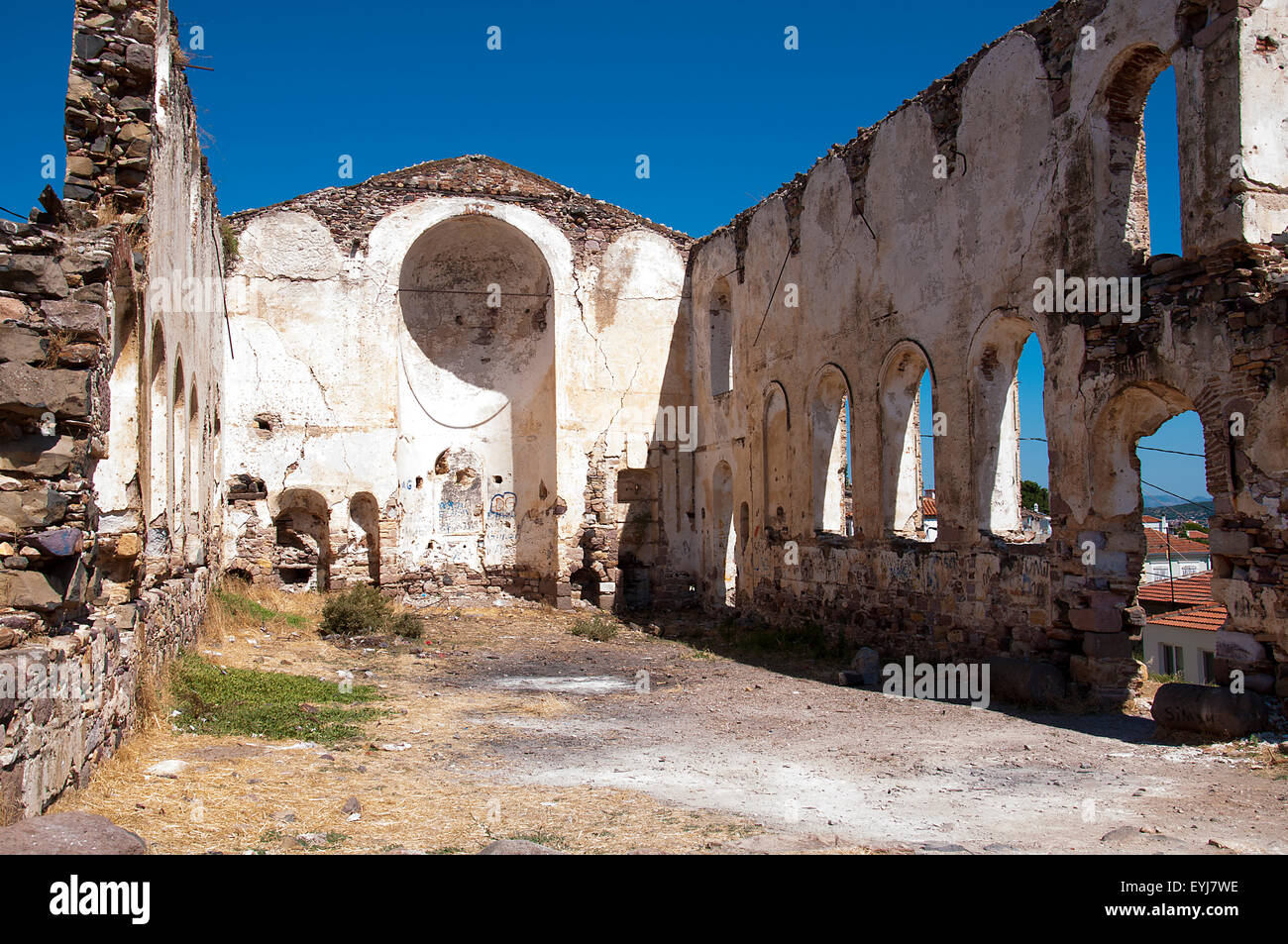 Cunda island church ruins - Stock Image