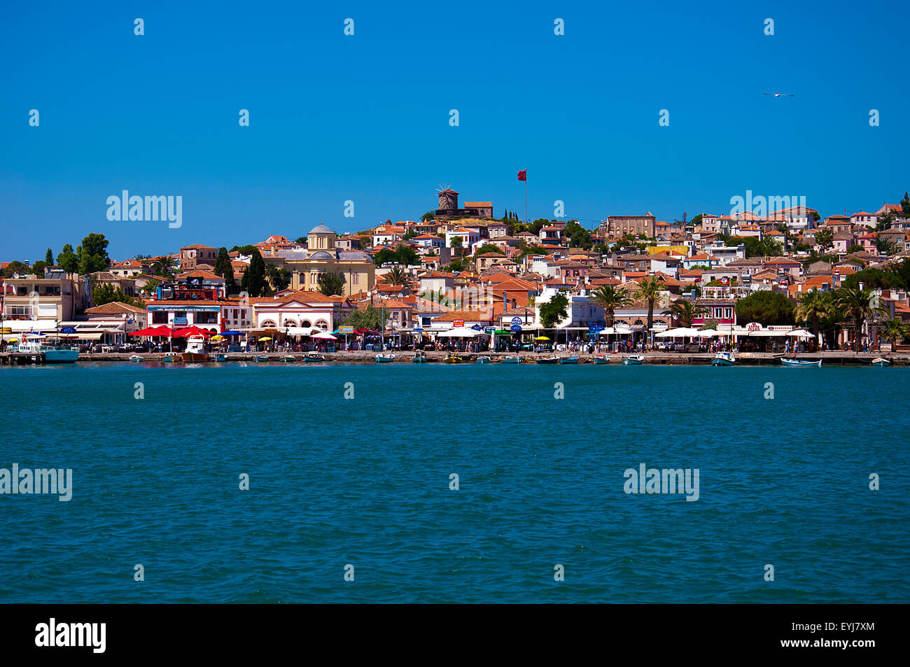 Coast of summer town Cunda Island at Ayvalik, Balikesir, Turkey - Stock Image