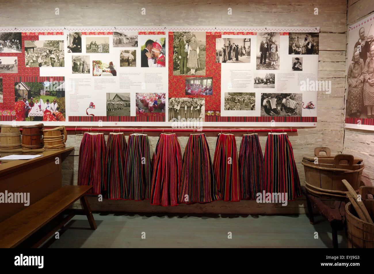 The Kihnu traditional red skirts and other handicrafts are seen in Kihnu museum. Kihnu Island. Estonia 24th July, - Stock Image