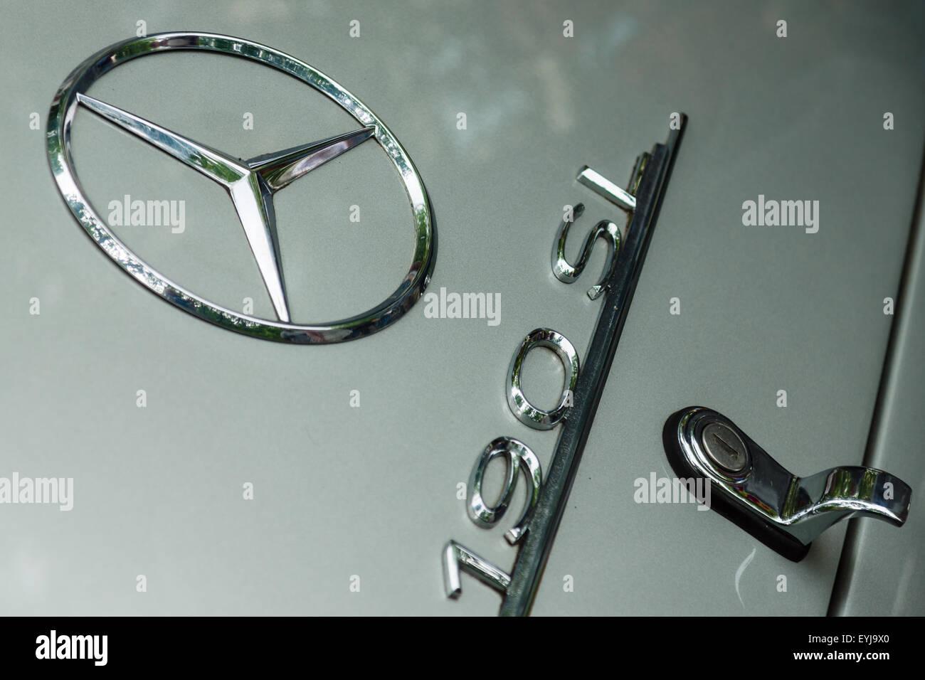 BERLIN - JUNE 14, 2015: The logo of a sports car Mercedes-Benz SL190. The Classic Days on Kurfuerstendamm. - Stock Image