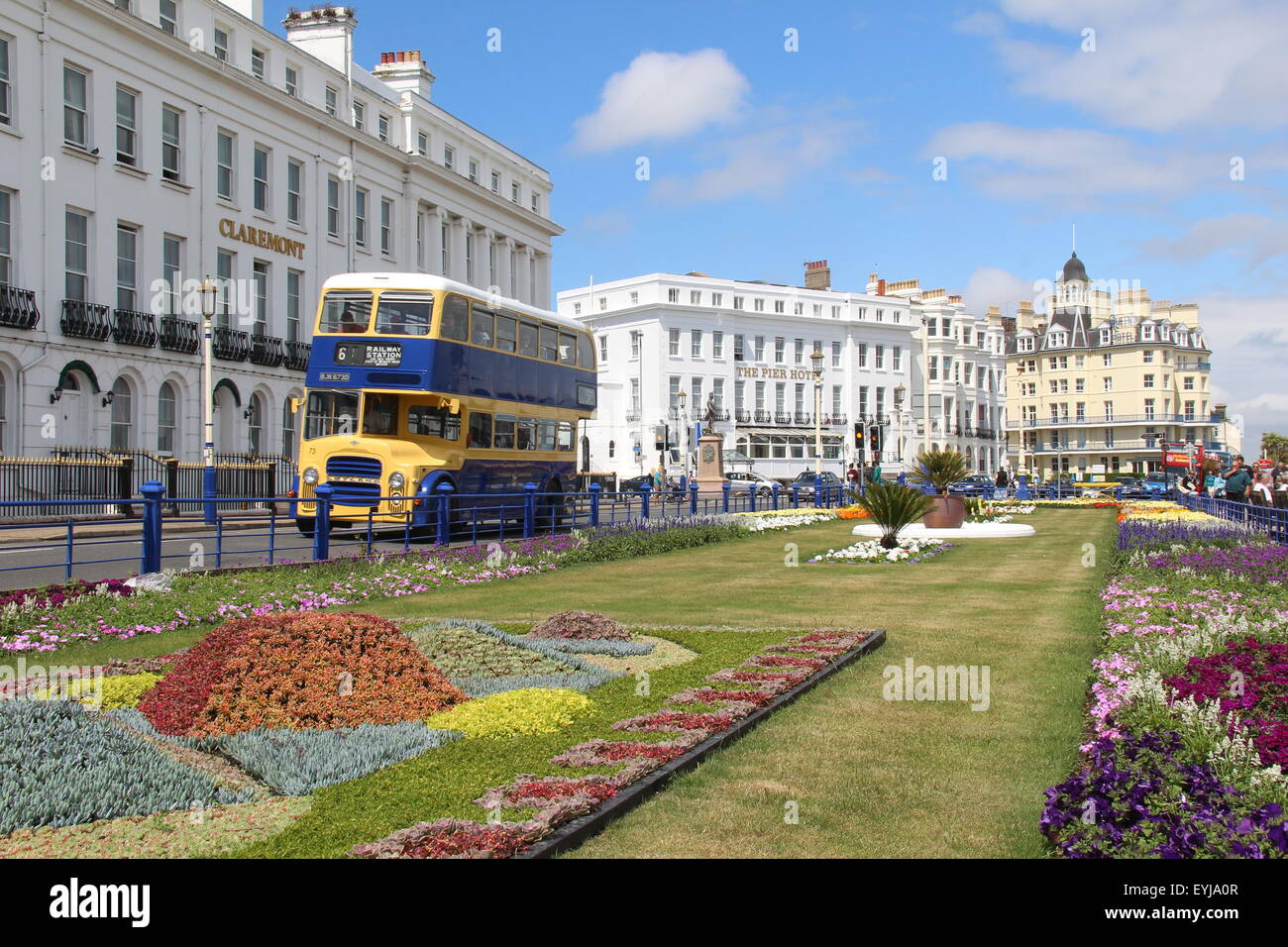 A VINTAGE EASTBOURNE CORPORATION LEYLAND TITAN DOUBLE DECK BUS ON EASTBOURNE SEAFRONT IN EAST SUSSEX IN THE UK - Stock Image