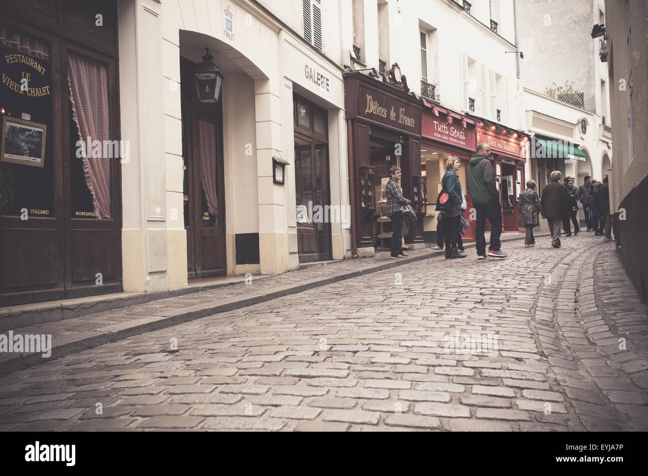 Vintage filter effect street view of Montmartre in Paris France - Stock Image