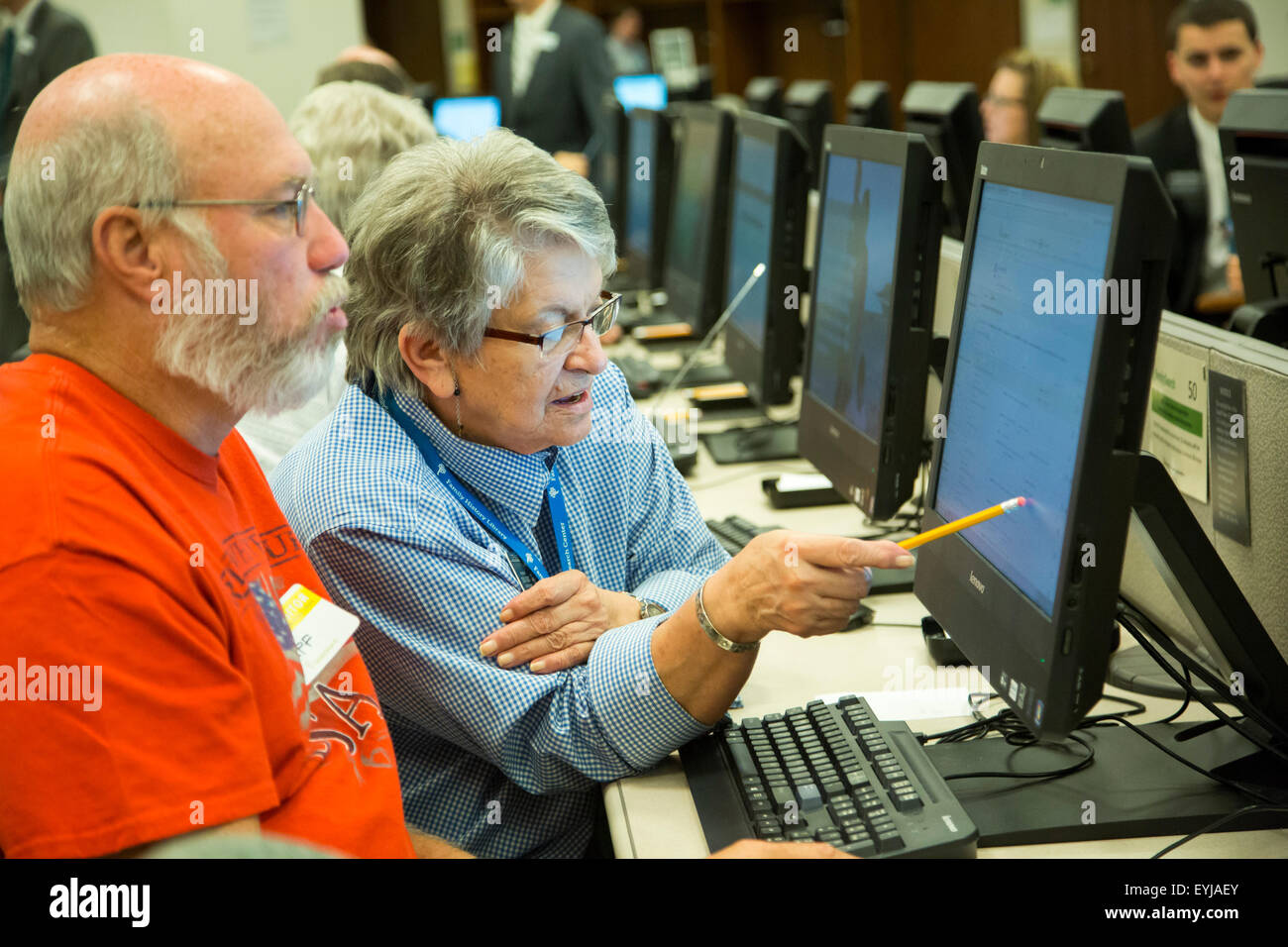 Salt Lake City, Utah - Genealogical research at the Mormon church's Family History Library. - Stock Image