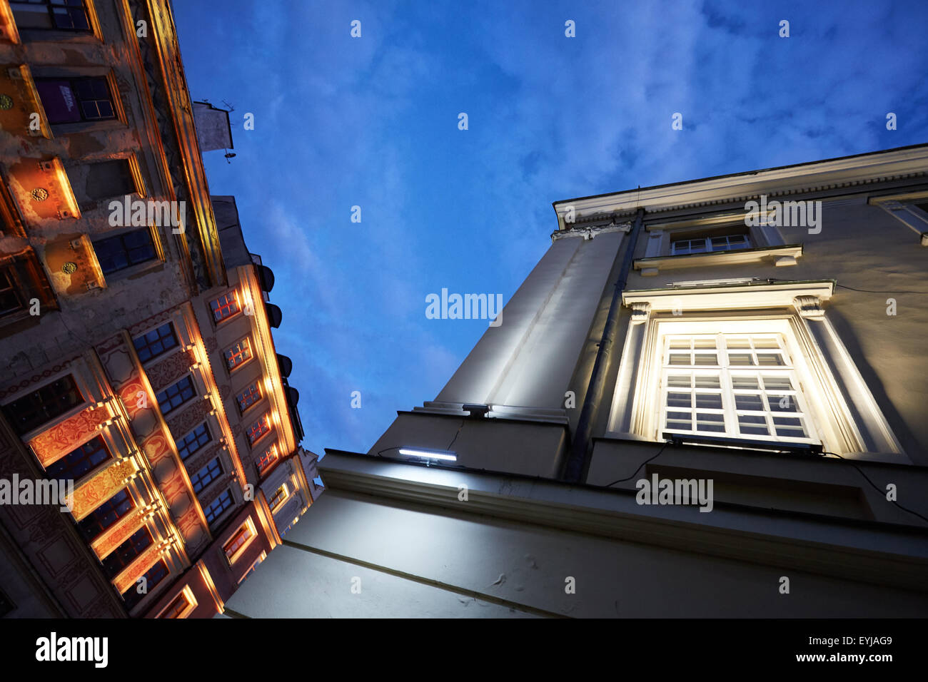 LED illumination in Lublin's old town, Poland, Europe - Stock Image