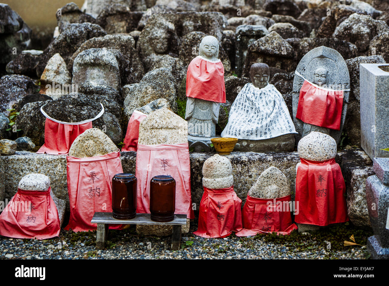 Small jizo statues at famous Daitokuji (Daitoku-ji) Temple. Buddhist zen temple of Rinzai school. - Stock Image