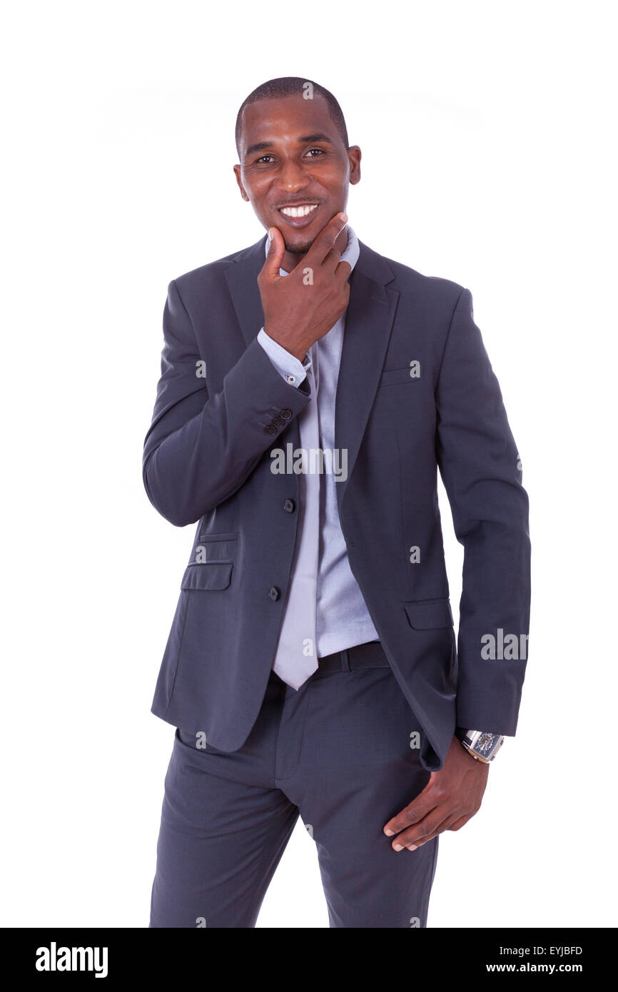 African american business man over white background - Black people - Stock Image