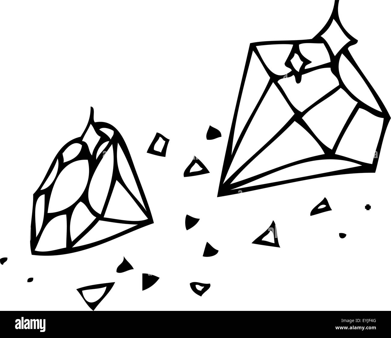 Vector graphics. Sketch. Brilliant Gems on a white background - Stock Image