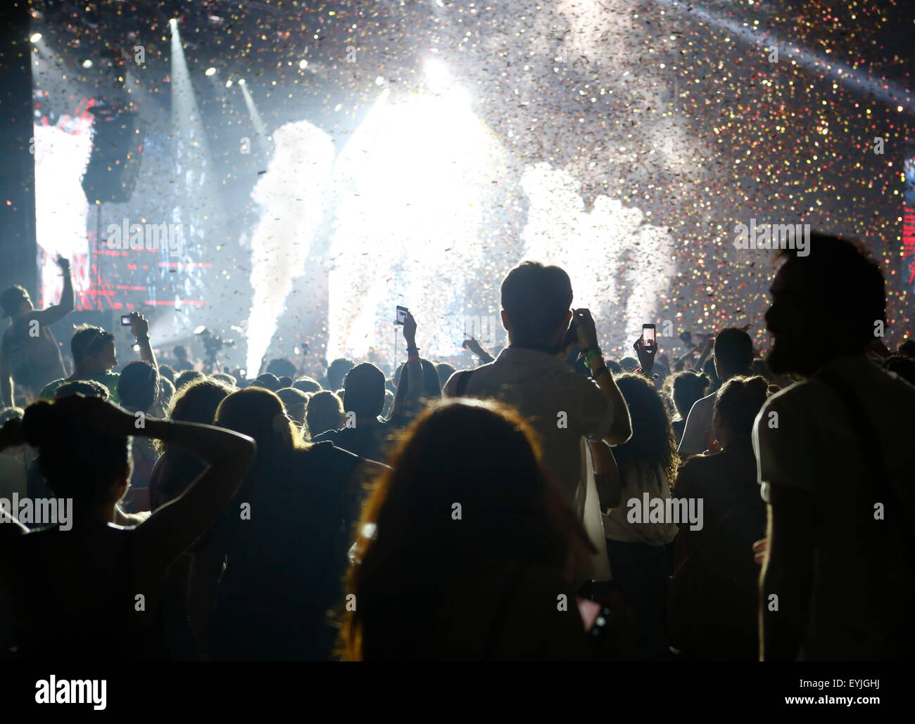 Crowded live performance event at Sonar music festival in Barcelona - Stock Image