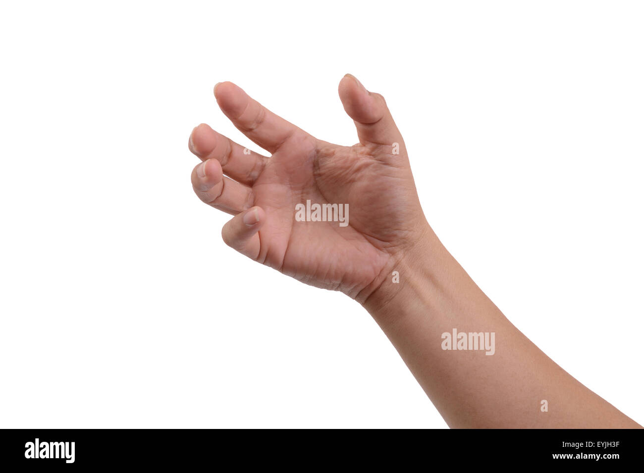 One hand like holding something that's invisible on white background. - Stock Image