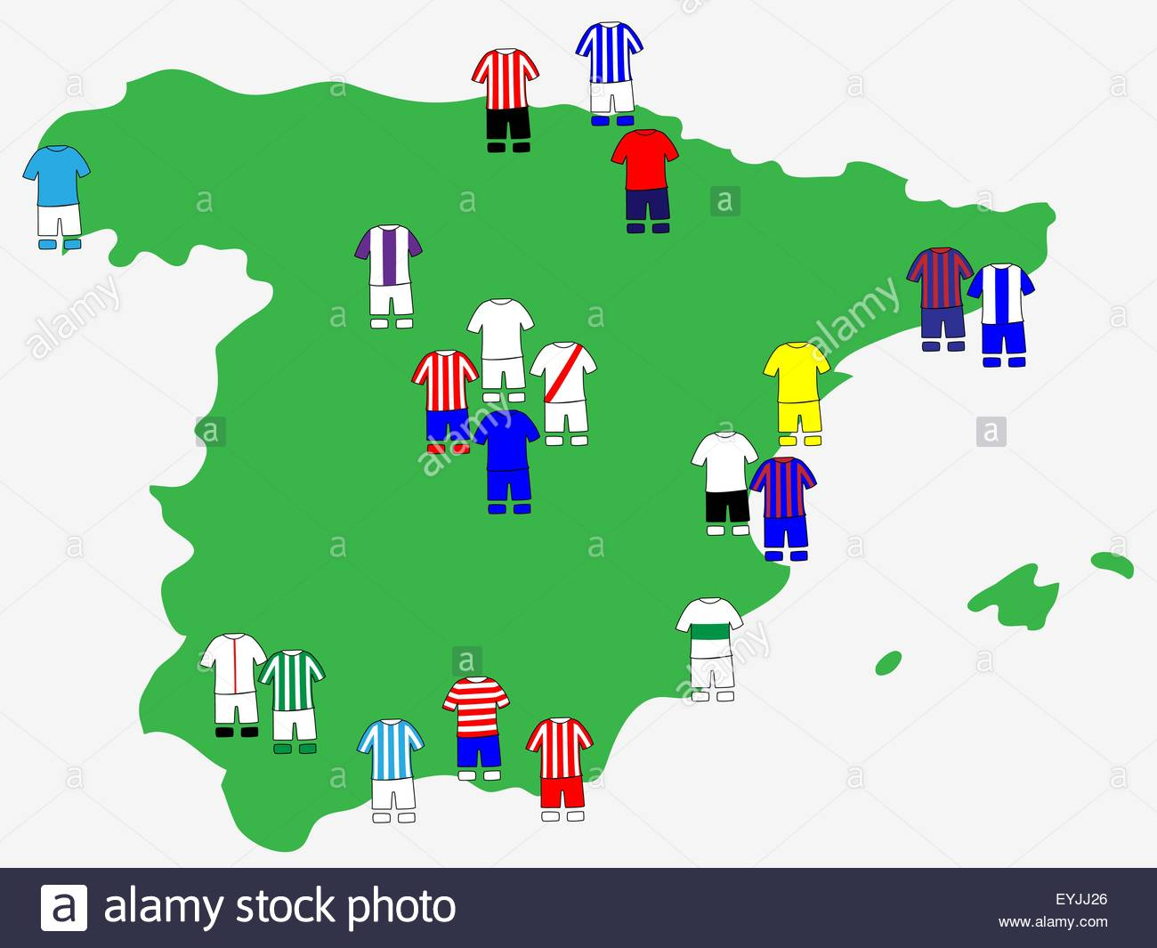 Spanish League Clubs Map 2013-14 La Liga Stock Vector Art