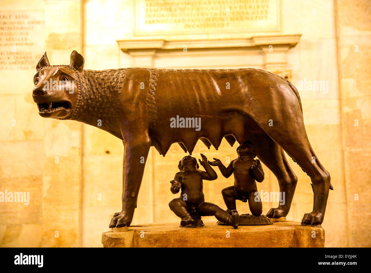 The Capitoline She-Wolf bronze statue featuring the mythical twins Romulus and Remus in the Capitoline Museum Rome - Stock Image