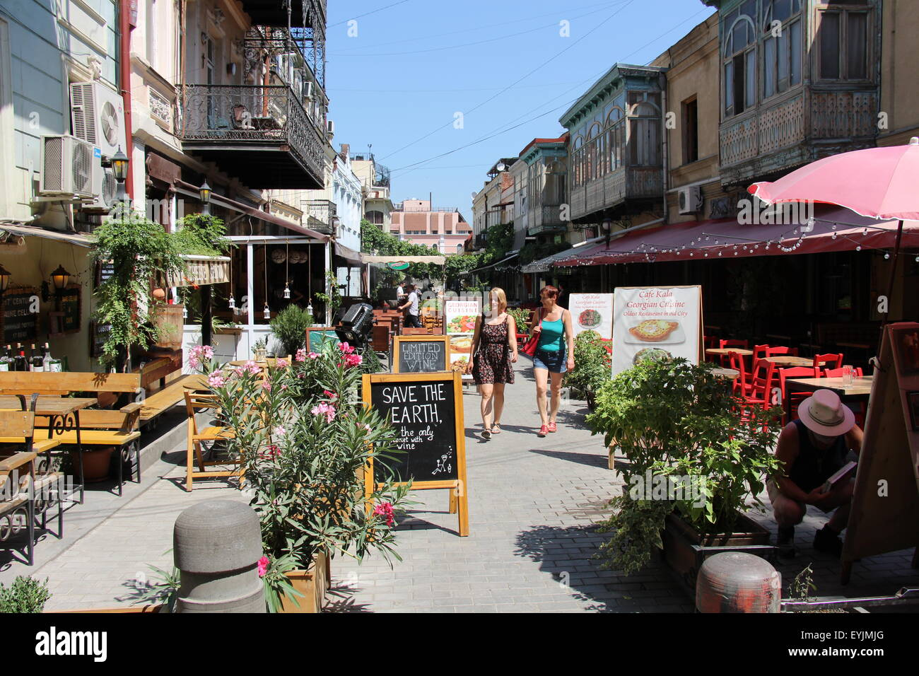 Restored area of Tbilisi, Georgia with bars and restaurants - Stock Image