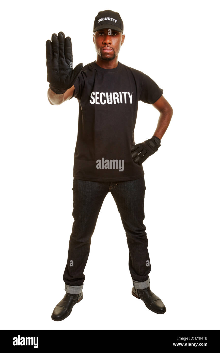 Security guard showing stop with his raised hand - Stock Image