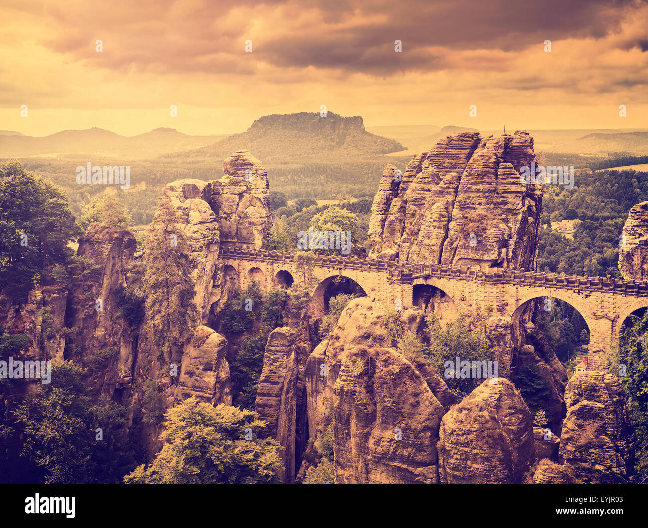 Retro toned Bastei bridge in Saxon Switzerland, Germany. - Stock Image