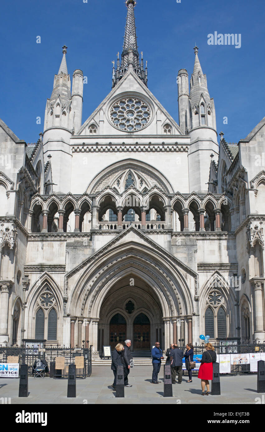 Entrance Royal Courts of Justice London England - Stock Image