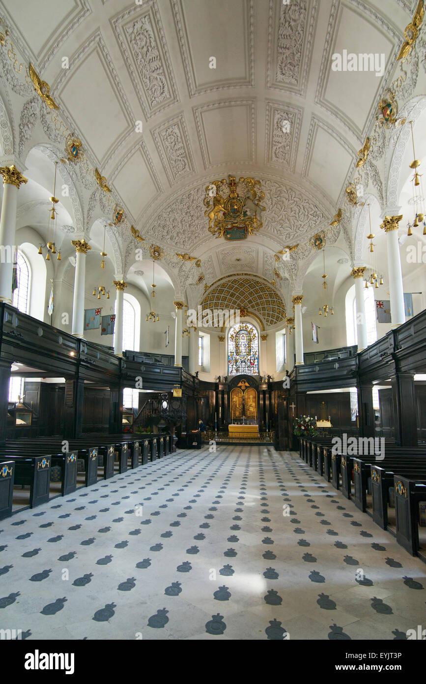 Interior Saint Clement Danes Church Strand London England - Stock Image