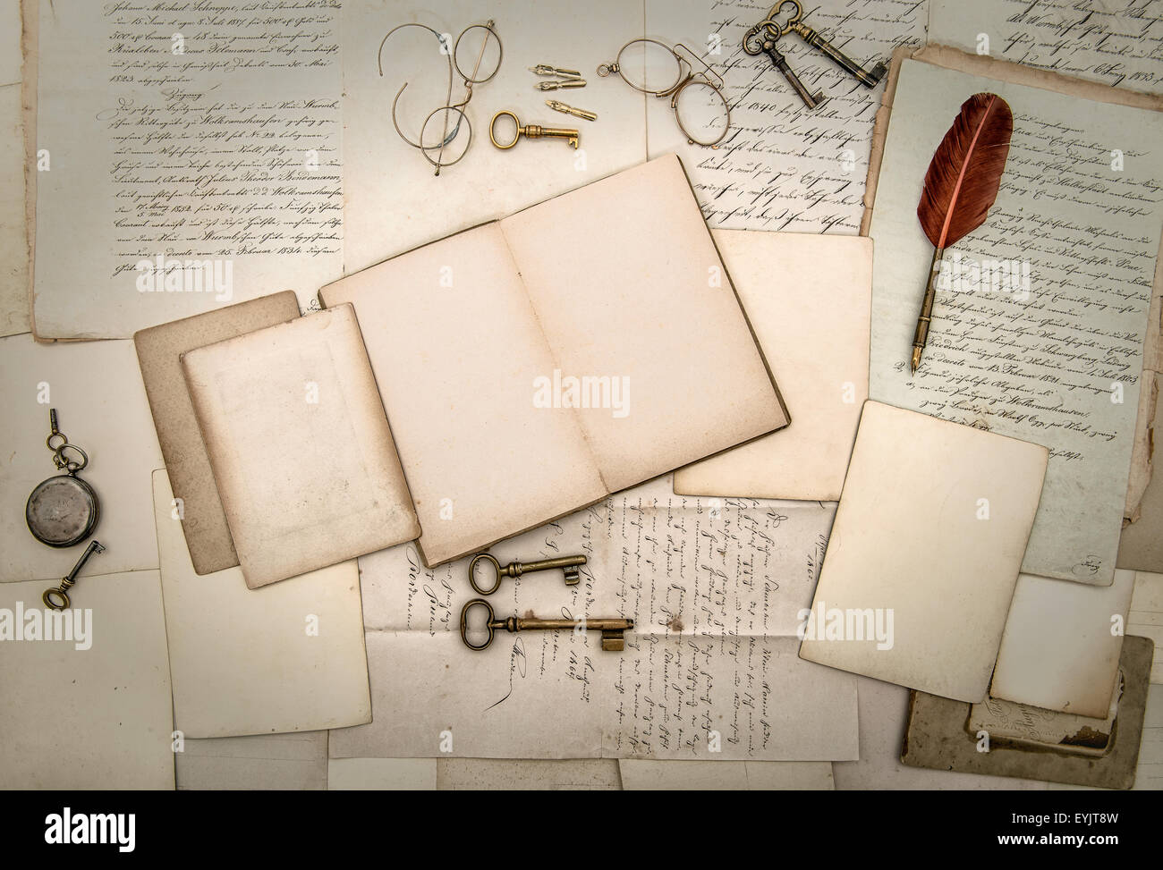 Antique accessories and office tolls, old letters and postcards. Nostalgic scrapbook background - Stock Image