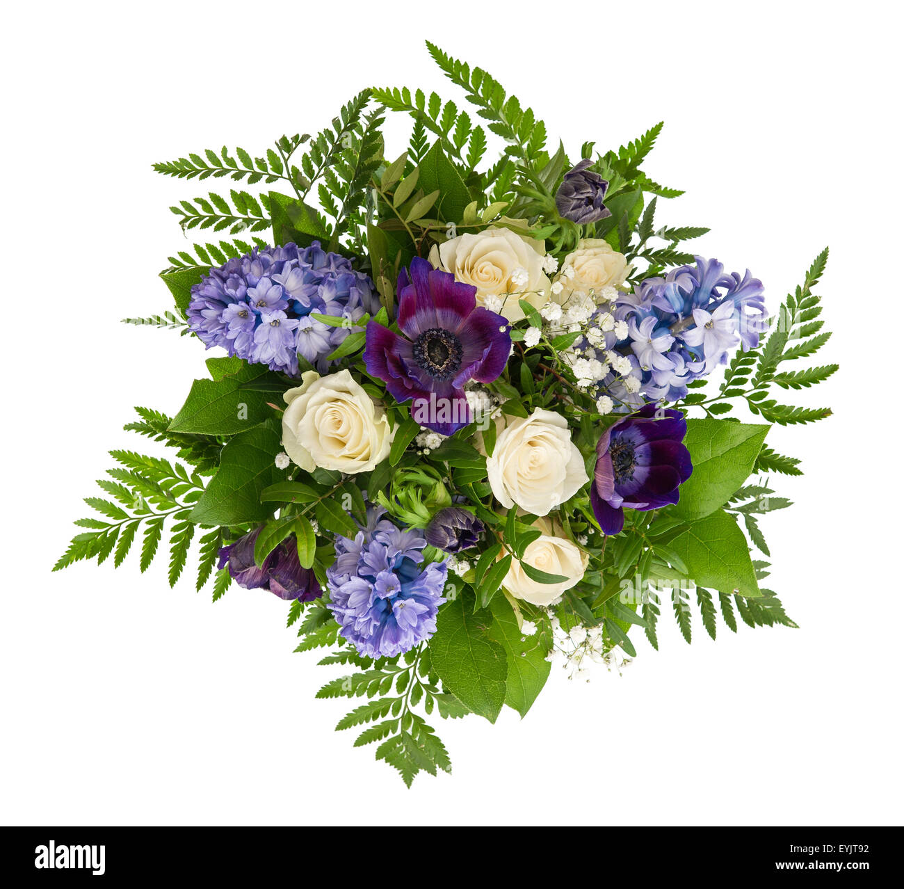 Spring Flowers Bouquet. Roses, Hyacinth, Ranunculus Over White Stock ...