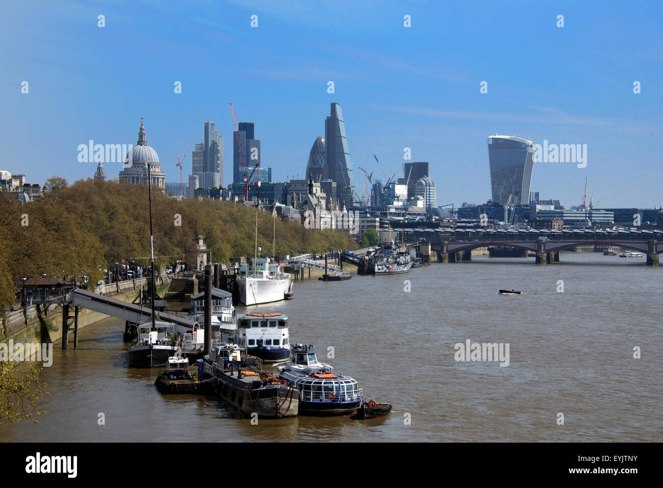 Victoria Embankment Thames and City of London skyline England - Stock Image
