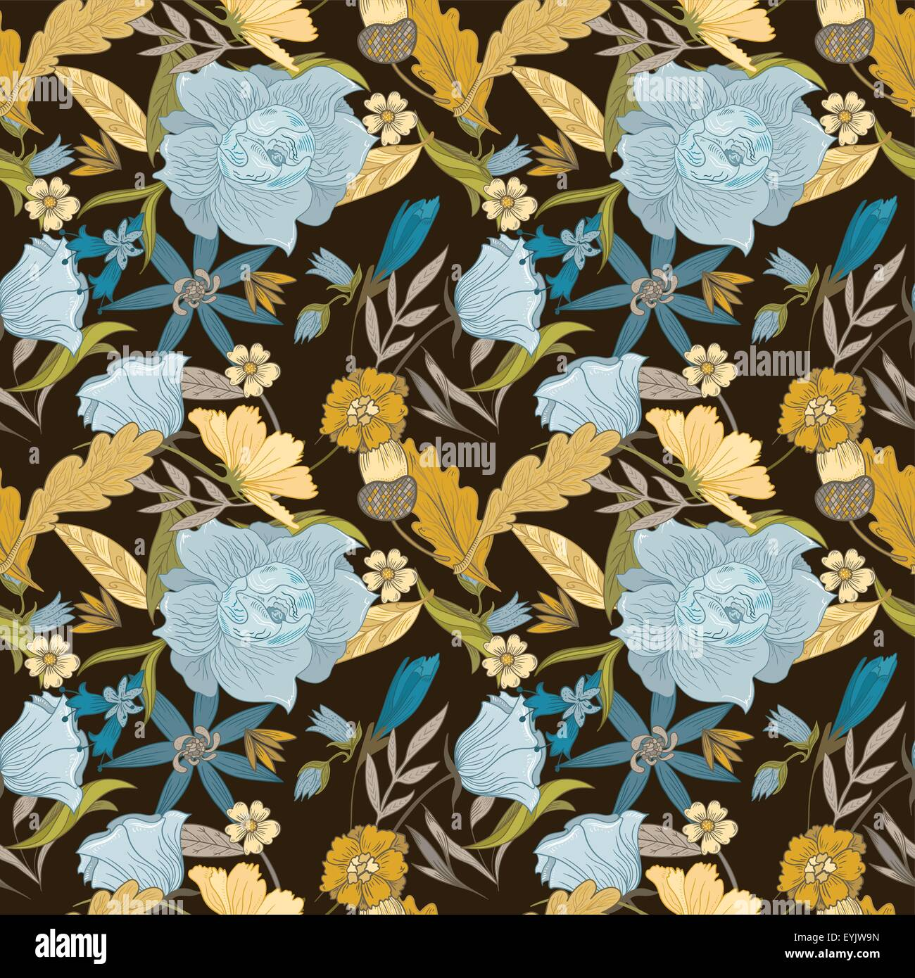 Brown yellow blue flowers seamless pattern background fall stock seamless texture with blue flowers and yellow leaves on brown background for textile and wallpaper design izmirmasajfo