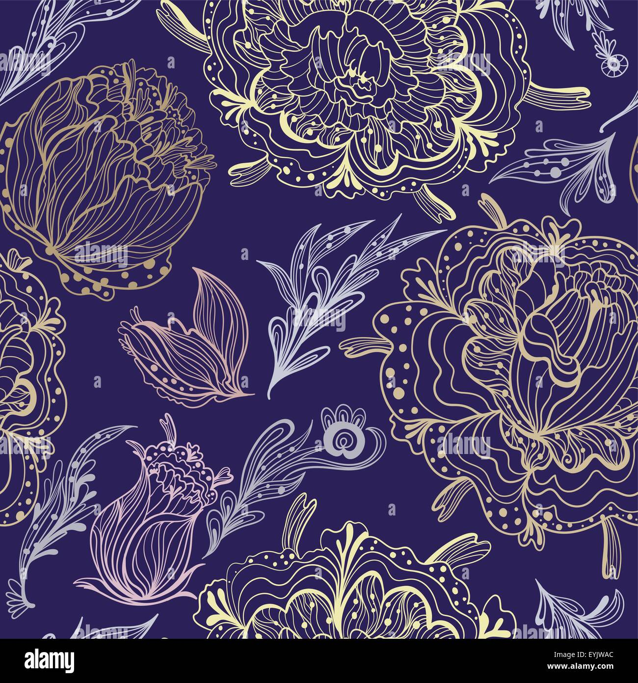 Expensive Print With Pastel Colored Flowers In Outline Technique On Dark Purple Background Modern And Romantic Style